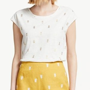 Boden robyn pineapple print tee t-shirt white